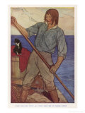 Crusoe Rows out Tothe Wrecked Ship to Salvage as Much as He Can Gicleetryck av Elenore Plaisted Abbott