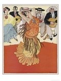 Female Dancer Accompanied by Guitars and Singers Who Also Keep the Rhythm by Clapping Giclee Print by Torne Esquius