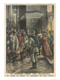 German Troops Force French People to Leave Their Homes and Families in Order to Work Gicleetryck av Eugene Damblans