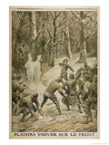 French Soldiers Amuse Themselves by Throwing Snowballs at Snow Effigies of the Enemy Gicleetryck av Eugene Damblans