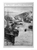 Zeppelin L15 Floats in the Sea off the Kent Coast Giclee Print by Charles Dixon