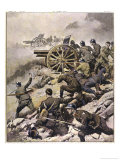 WWI, Allied Forces Attack Across the River Piave Gicleetryck av Achille Beltrame