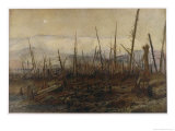 The Desolated Battlefield at Craonne Showing the Plateau Cliffs Giclee Print by Francois Flameng