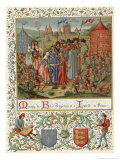 Richard II Weds the Seven Year Old Isabelle of France Daughter of Charles Vi Giclee Print by Chroniques De Froissart