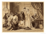 Lady Jane Greys Reluctance to Accept the Crown Pictured Here with Lord Guildford Dudley Her Husband Giclee Print by Herbert Bourne