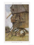 British Observation Post in a Windmill Giclee Print by Francois Flameng