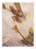 British Avro 504 Biplane Pursues a German Monoplane in a Deadly Aerial Duel Giclee Print by Cyrus Cuneo