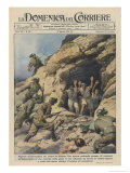 North Africa: Italians Capture British Troops Who Had Been Hiding in a Cave on the Sollum Front Giclee Print by Achille Beltrame