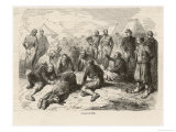 "Off-Duty Soldiers in a French Camp During the Crimean War Enjoy a Game of ""Lotto"" Giclee Print by Fessart"