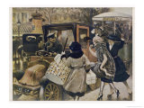 Three Parisiennes Compete for a Cab, But Which Will the Cabbie Favour Giclee Print by Albert Guillaume