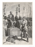 The Leader of the Gauls Vercingetorix Lays His Arms Before Caesar Premium Giclee Print by Lodovico Pogliaghi