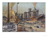 Germany the Interior of an Iron Foundry with Workers Going About Their Various Jobs Giclee Print by A. Dressel