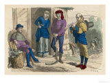 Peasants Pause in Their Work to Listen to an Itinerant Musician Giclee Print by Beudet 