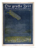 German Airship Hovers Menacingly Over Paris Giclee Print by Rodolf Czerny