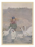 Esmilda Sitting Unhappily at the Water's Edge is Consoled by Sympathising Swans Giclee Print by Florence Anderson
