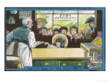 Nine Children Watch as a Lucky Little Girl Buys Herself a Bar of Fry's Chocolate Giclee Print by Tom Browne