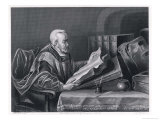 Scholar Wearing a Fine Cloak Peers Through His Monocle to Read a Large Format Book Giclee Print by W. French