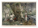 In a Forest Near Chartres France Druids Collect Mistletoe for Ritual Purposes Premium Giclee Print by Eugene Damblans