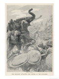 The Troops of Alexander the Great Meet the Elephants of Porus on the Hydaspes Premium Giclee Print by Andre Castaigne