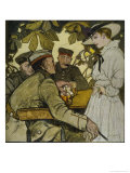 German Soldiers on Leave Spend Time Relaxing at a Cafe Giclee Print by J.u. Engelhard