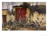 Casualties of War at the Gates of the Chateau of Plessis-De- Roye Giclee Print by Francois Flameng
