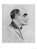 Rudyard Kipling English Writer Sketched During a Visit to Naples in March 1928 Giclée-tryk af G. Garzia