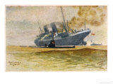 German U-Boat Damages an Allied Vessel Giclee Print by Kurt Bottcher