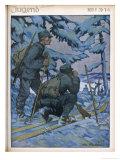 German Ski Patrol Giclee Print by Otto Flechtner
