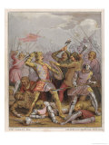 King Henry V Engages in Hand-To- Hand Fighting on Foot Against the French Infantry Reproduction proc&#233;d&#233; gicl&#233;e par John Absolon