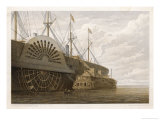 In the Harbour at Sheerness the Cable is Transferred from the Hulk to the Great Eastern Giclee Print by Robert Dudley