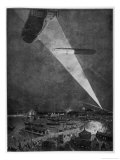 Zeppelins Over the English Coast are Spotted by a Lone Searchlight Giclee Print by Zeno Diemer
