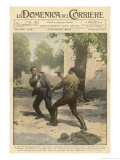 The Police Chief of an Alabama Town Fights a Duel with a Colleague Tied to Each Other by the Wrist Giclee Print by Achille Beltrame