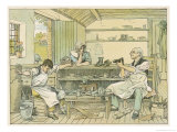 The Village Cobbler (Shoe Repairer) Appraises a Pair of Well-Worn Boots Giclee Print by Francis Bedford