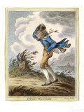 Windswept Man Battles His Way Across Hampstead Heath Giclee Print by James Gillray