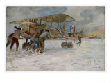 French Spad on Airfield Giclee Print by Francois Flameng