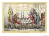 Game of Chess, Two Wigged Gentlemen Play Two Friends Watch Them with Mixed Emotions Giclee Print by George Cruikshank