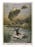 German Observer's Parachute Lands Him in the River Marne Gicleetryck av Eugene Damblans