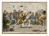 Two Pugilists Spar as a Gathering of Men Enjoy the Action Giclee Print by Isaac Cruikshank