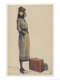 Young Woman Showing the Barrel-Line Silhouette of the Period Giclee Print by Luigi Bompard
