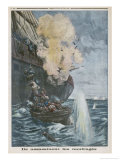 "When the Russian Sailing Ship ""Lynton"" is Torpedoed the U-Boat Fires Gicleetryck av Eugene Damblans"