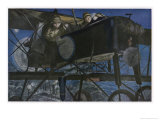 French &quot;Voisin&quot; Bomber Carries out a Night Raid Giclee Print by Francois Flameng