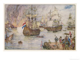 Dutch Fleet Commanded by De Ruiter Sails up the Thames and Burns English Shipping in the Medway Giclee Print by Henry Justice Ford