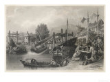 Junks on Canal in China Giclee Print by W. Floyd