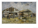 French Spad Fighters on the Ground at an Airfield Giclee Print by Francois Flameng