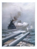 "In a Naval Engagement off Heligoland the ""Lion"" Sinks a German Cruiser Giclee Print by Montague Dawson"