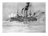 "The British Ship ""Glasgow"" Fires Upon the ""Dresden"" off the Chilean Coast Giclee Print by Charles Dixon"
