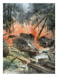 Tank Battle in the Forests of Leningrad Giclee Print by Achille Beltrame
