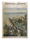 Raising Ships Scuttled by the Germans at Scapa Flow Giclee Print by Achille Beltrame