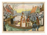 Saint Nicolas Arrives by Canal in a Dutch Village Accompanied by Black Peter Gicléetryck av Eugene Damblans