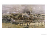 Battle in Progress in the Main De Massiges Region of France Giclee Print by Francois Flameng